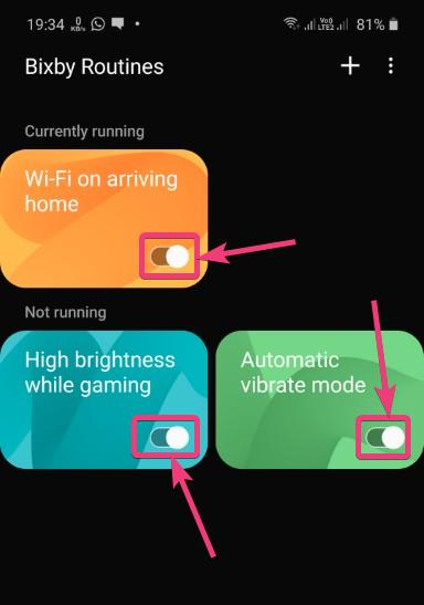 Disable certain Bixby Routines