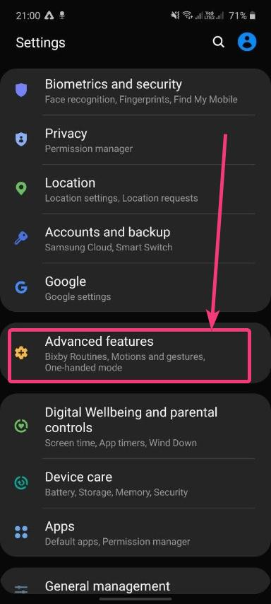 Advance features settings Samsung