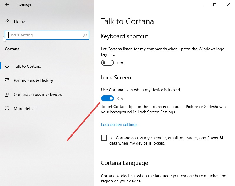 Disable Cortana usage on the lock screen