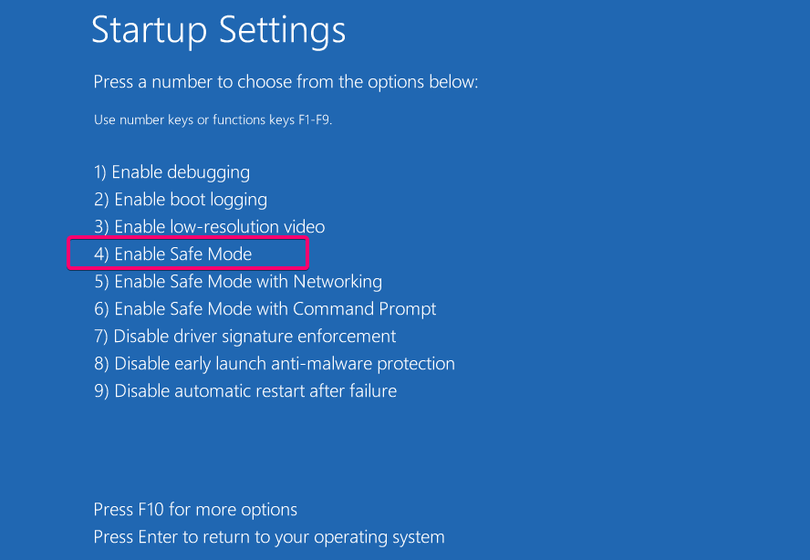 Enable Safe mode in WIndows 10