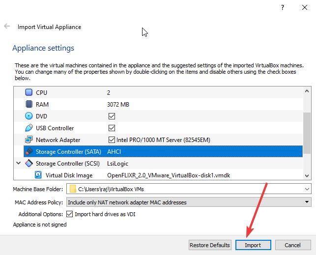 Import OpenFLIXR virtual machine