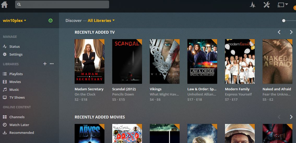 Plex Media Server for Windows 10