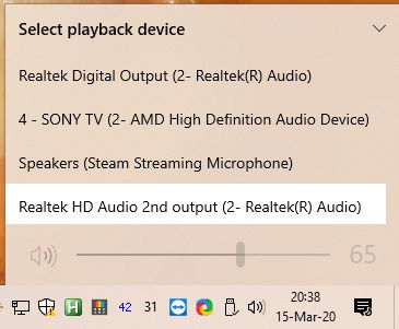 Select Play Back device windows 10