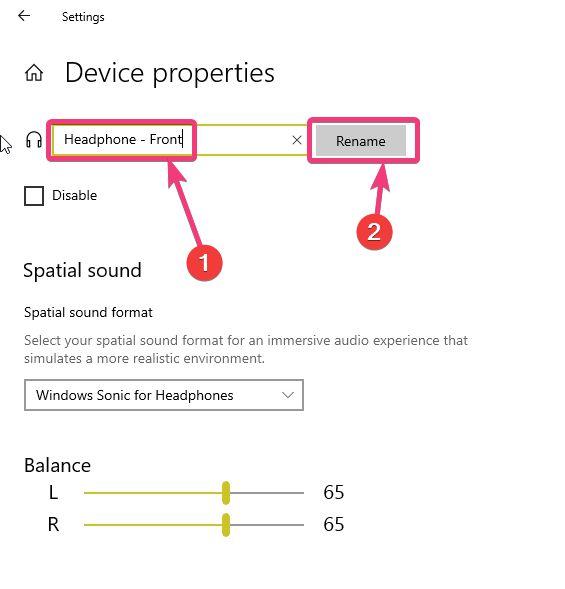 Rename audio devices on Windows 10