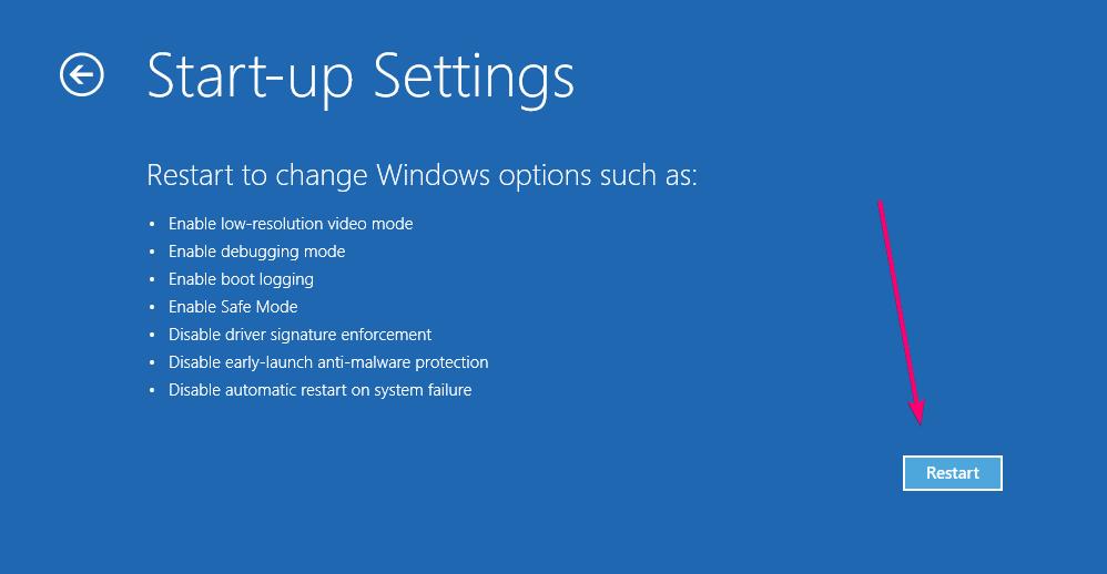 Restart to change windows startup options