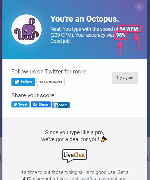 Test typing speed in 1 minute on Livechatinc
