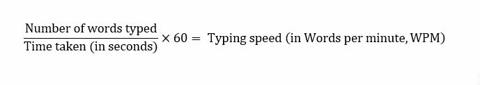 Formula to calculate typing speed manually