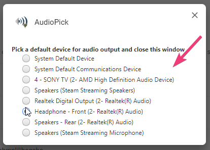 select the audio device to play audio from all Chrome tabs