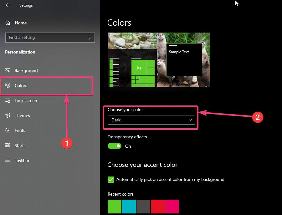 Choose your color on Windows 10