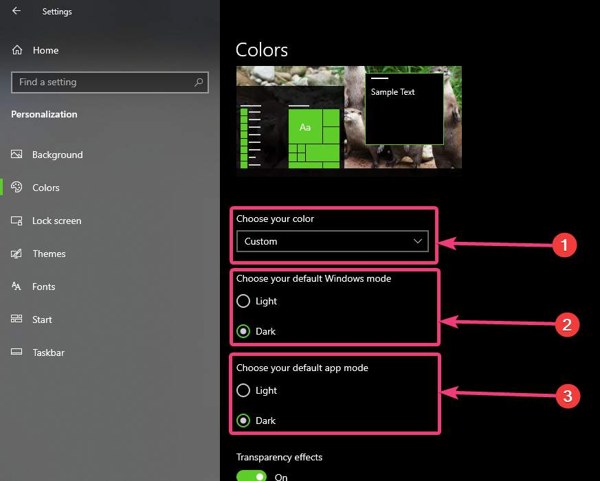 Setting the custom colour mode in Windows 10