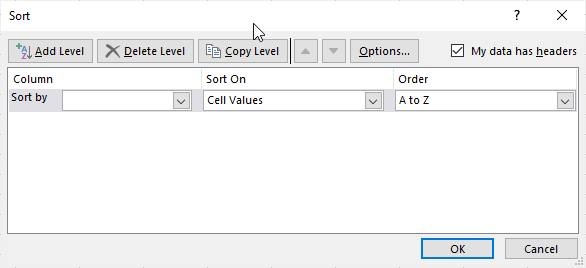sort dialogue box will open up on Microsoft Excel