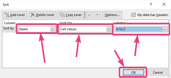 Sort data by date, time, alphabetically or cell value