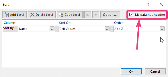 My data has headers' in the 'Sort' Excel dialogue box