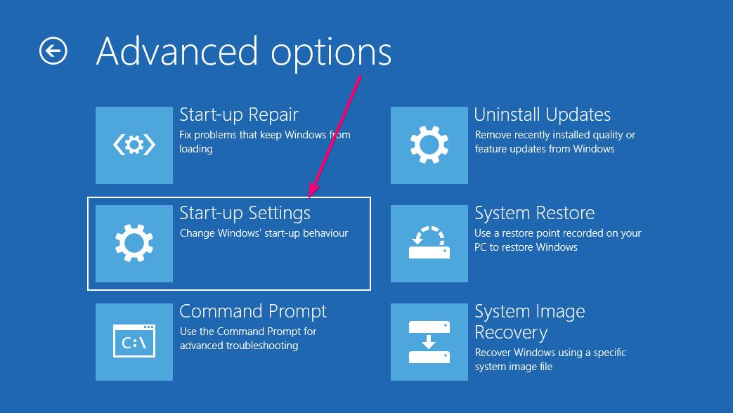 WIndows 10 start up settings