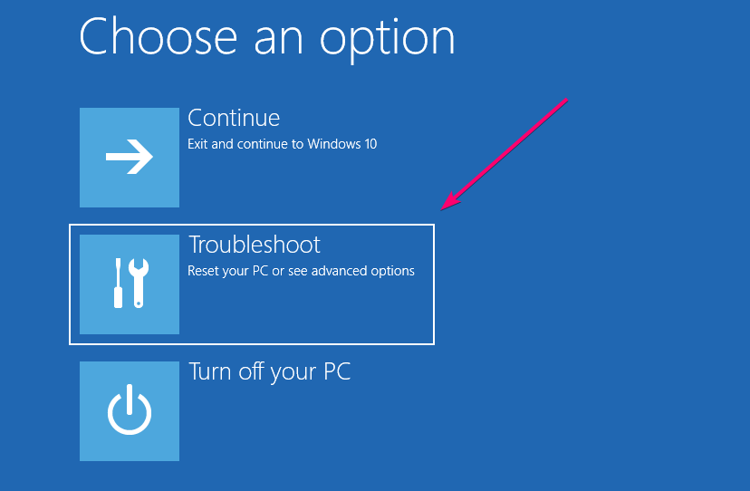 Windows 10 Troubleshoot option