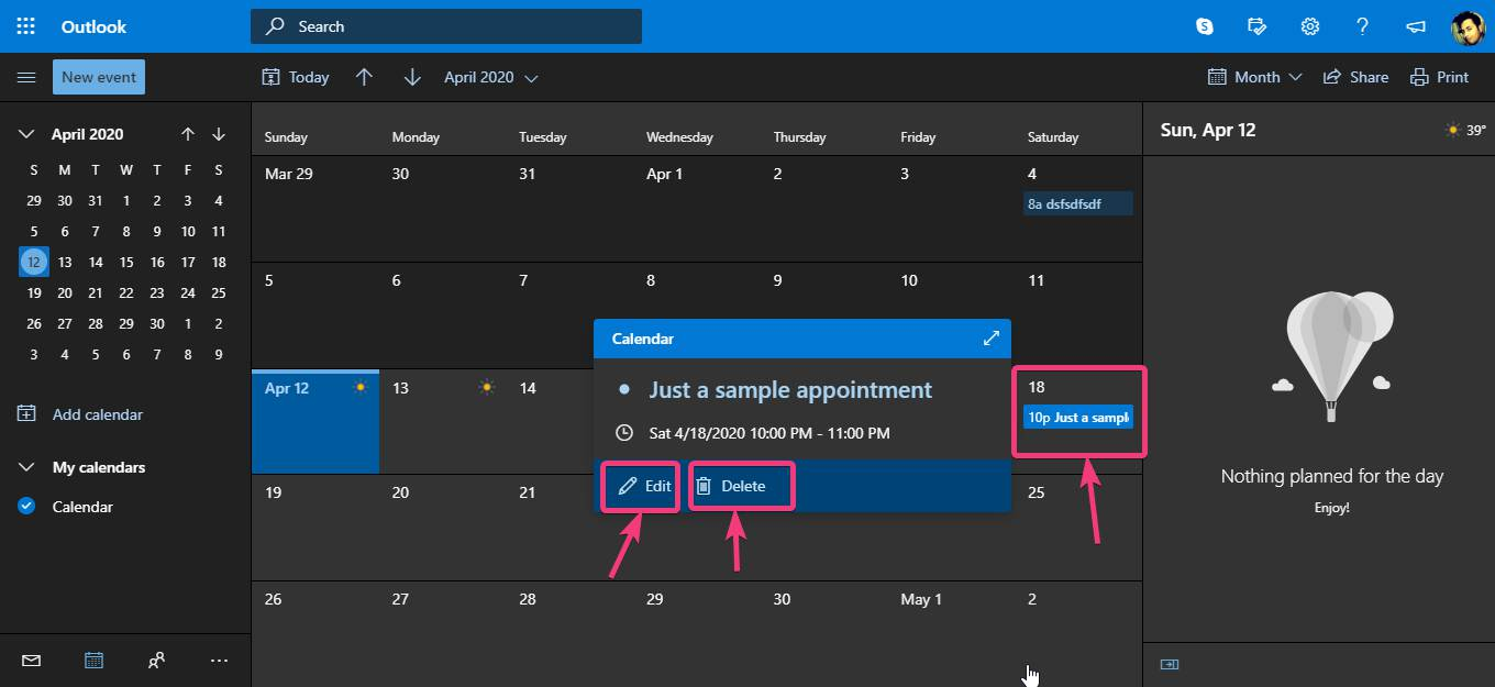 Adding appointments on Microsoft Calendar Windows 10