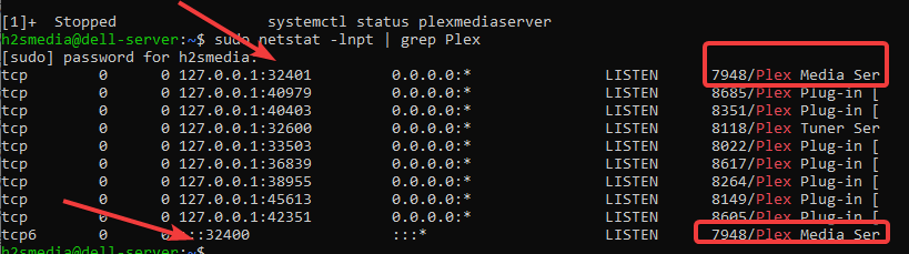 Check ports used by Plex server