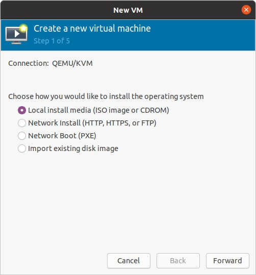 Create QEMU or KVM virtual machine