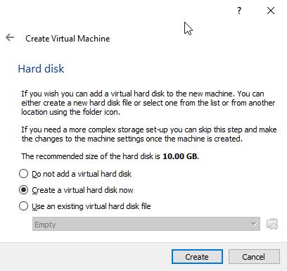 Create virtual hard drive