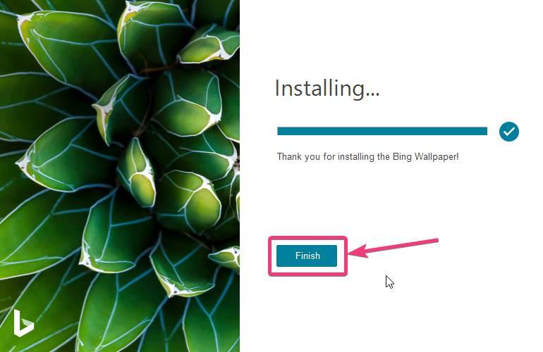 Installing Bing wallpaper is done