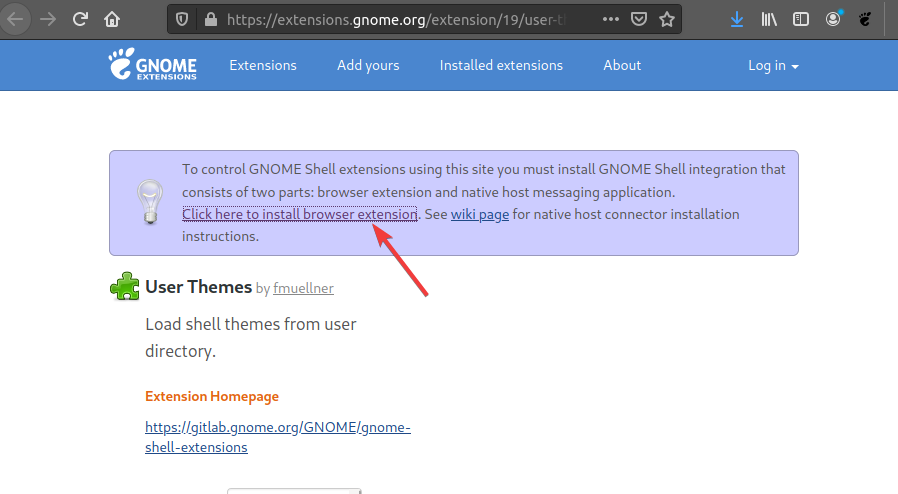 Install Gnome extension