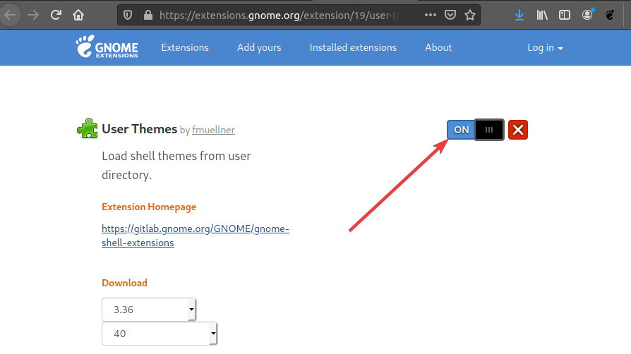 Install Gnome theme Extension