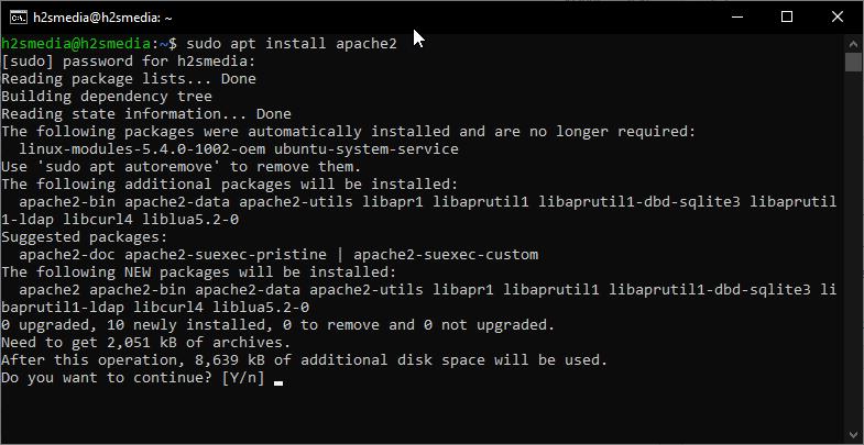 Install apache on Ubuntu 20.04