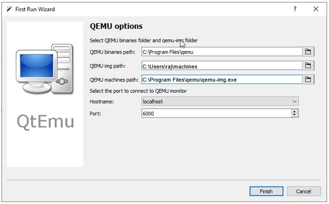 QTEMU GUI for QEMU on Windows 10 configuration