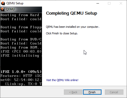 Qemu install & setup on windows