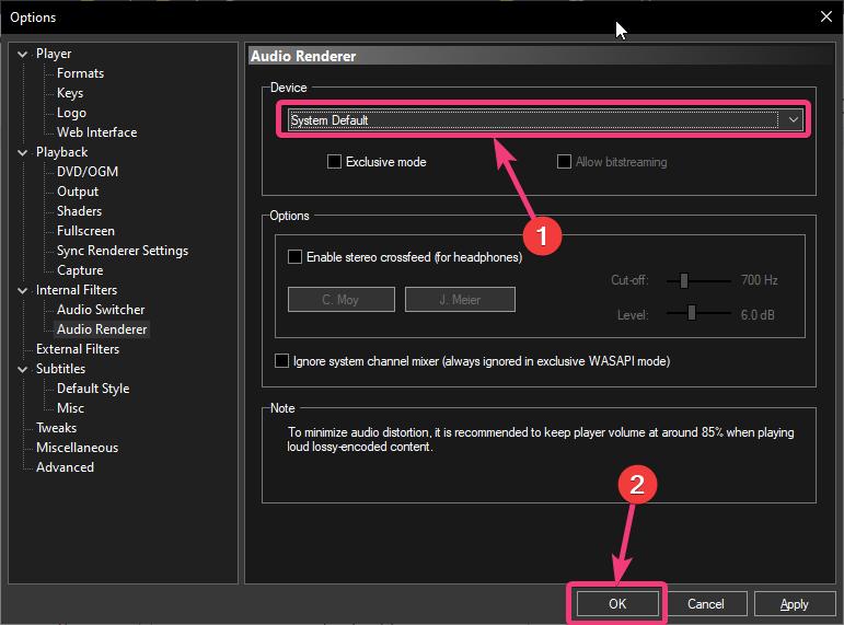 Set the 'Audio Renderer' to 'System Default'