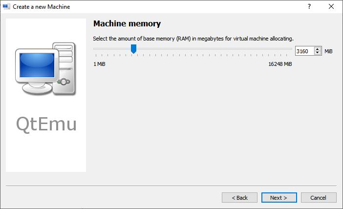 Set Qemu GUI RAM Memory