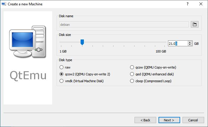 Set Qemu hard disk