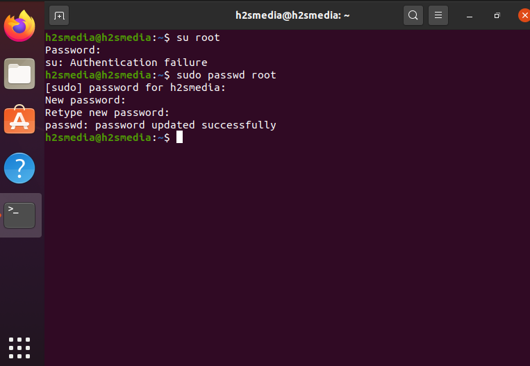 change root password in Ubuntu 20.04 LTS