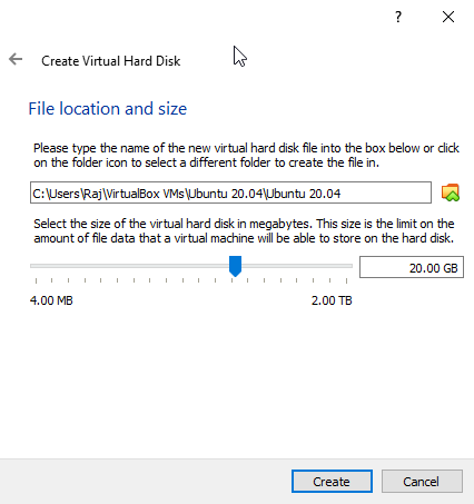 Set storage space to Ubuntu 20.04 on Virtual box