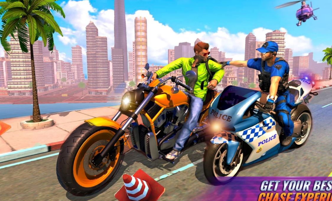 US Police Bike Chase Moto Rider Crime City Games