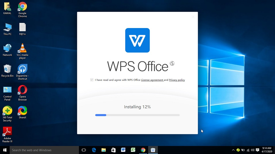 WPS office suite installation on Windows