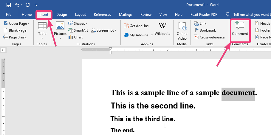Insert comment in Microsoft word