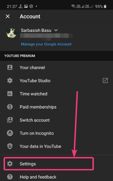 Double Tap to seek youtube settings
