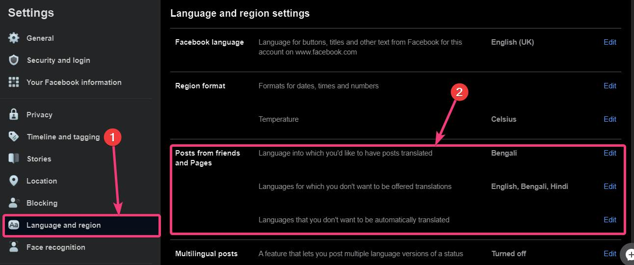 Change translation options on Facebook 30