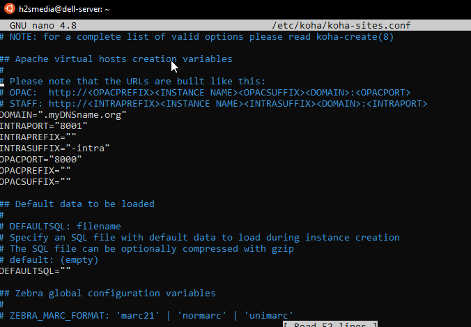 Configure koha sites ports