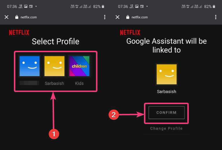Select Netflix profile to be get linked with Google Assistance
