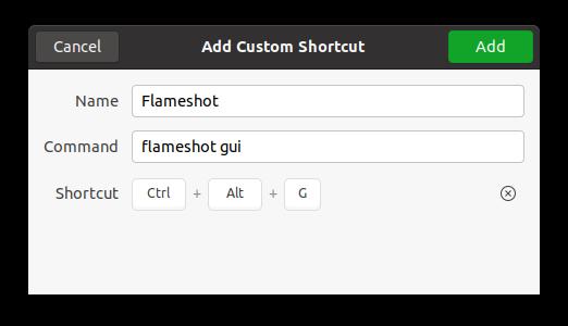 Create Flameshot Ubuntu shortcut