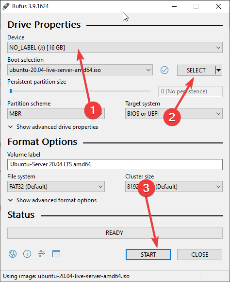 Create Ubuntu 20.04 server bootable USB drive