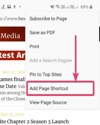 Add Page Shortcut
