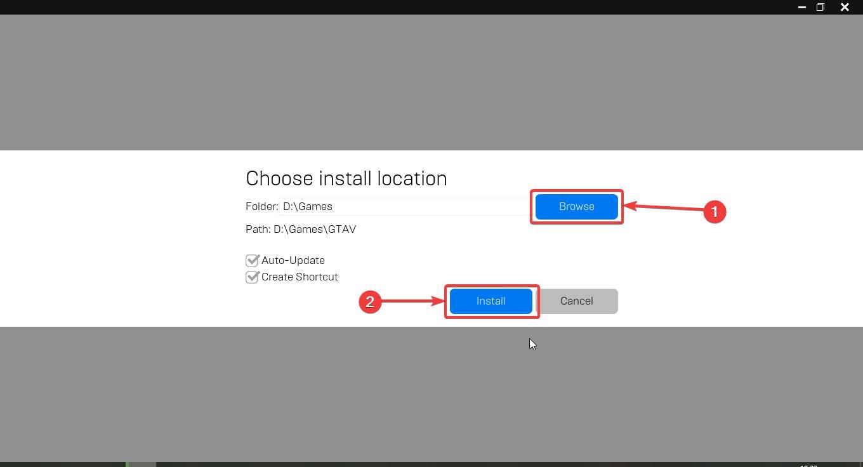 choose the installation GTA V  location