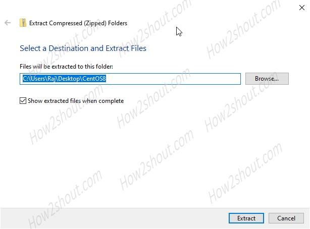 Extract zipped CentOS8 WSL