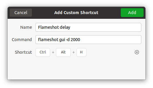 Flameshot Delay Keyboard shortcut