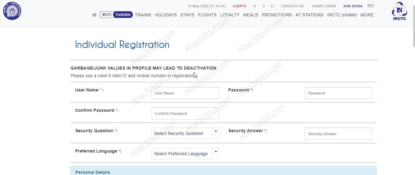 IRCTC Individual registration-min