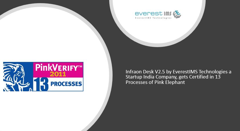 Infraon Desk V2.5 by EverestIMS gets Certified in 13 Processes of Pink Elephant