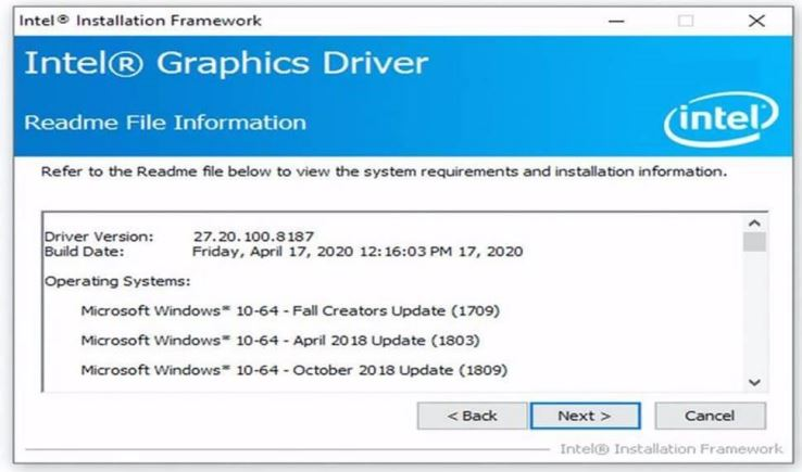 Intel Graphics driver update is 27.20.100.8187